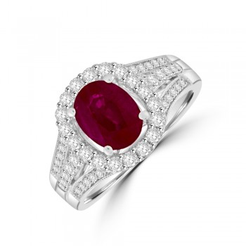 18ct White Gold Ruby & Diamond Oval Halo Ring