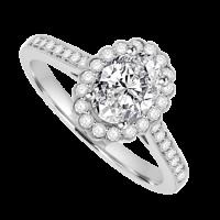 Platinum Oval Cut Solitaire Diamond Halo Ring D.61 EVS2 /.25ct