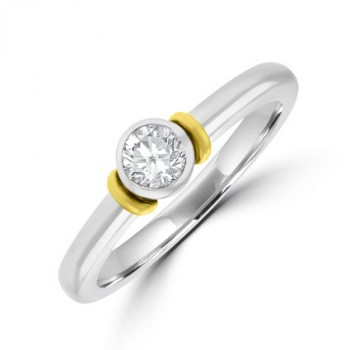 Platinum & 18ct Gold Diamond Rubover Solitaire ring