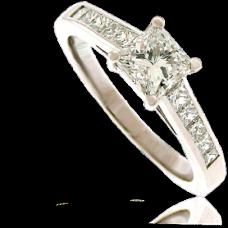 Platinum Princess cut Diamond Solitaire with Princess Shoulders