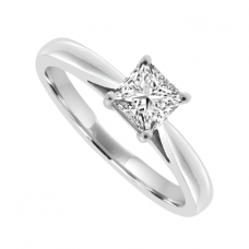 Platinum Solitaire Princess cut Diamond Ring .42ct Engagement