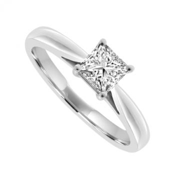 Platinum Solitaire Princess cut Diamond Ring .42ct Engagement