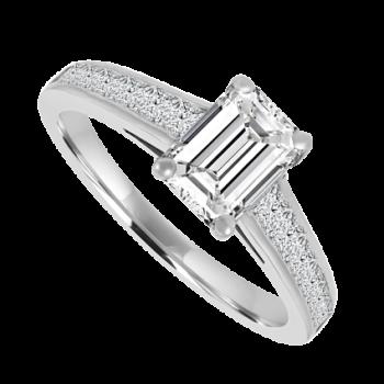 Platinum Emerald cut Diamond Solitaire Ring .76/.50ct