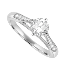 Platinum Diamond Solitaire Ring with a 3D Diamond set mount