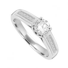 Platinum Solitaire Diamond ring with Princess cut shoulders