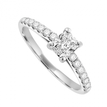 Platinum Solitaire Cushion cut ring with Diamond shoulders