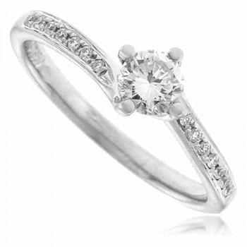 Platinum Diamond Solitaire Twist Ring