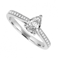 Platinum Pear Cut Diamond Solitaire Ring