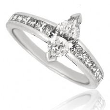 Platinum Marquise FVS1 Diamond with Princess cut Shoulders