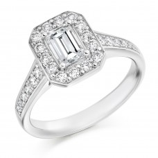 Platinum Emerald cut Diamond Solitaire Halo Ring
