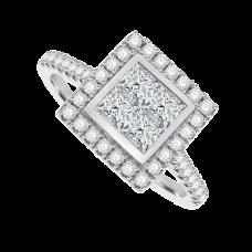 Platinum 4-Stone Princess cut Diamond Cluster Halo Ring