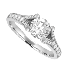 Platinum Diamond Solitaire Ring with split shoulders