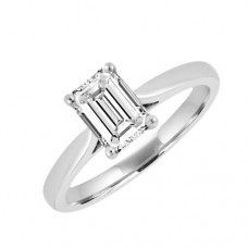 Platinum Solitaire Diamond Ring 1.00ct Emerald Cut