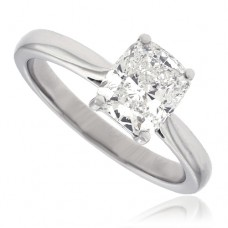 Platinum Cushion cut Solitaire Diamond Ring