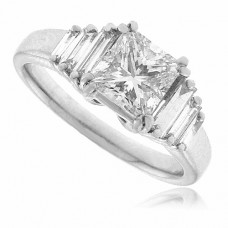 Platinum Princess cut & Baguette Diamond Ring