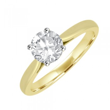 18ct Gold Solitaire Diamond Ring with 4-claw Platinum setting