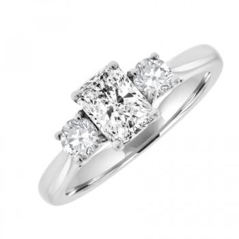 Platinum Three-stone Radiant & Brilliant Diamond Ring