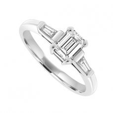 Platinum Solitaire Emerald-cut Diamond ring with side Baguettes
