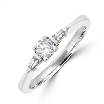 Platinum Diamond Solitaire with Tapered Baguettes Ring