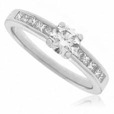 Platinum Diamond Solitaire Ring with Princess cut Shoulders
