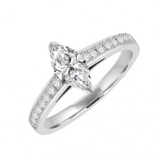 Platinum Solitaire Marquise Diamond ring with stone set Shoulder
