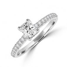 Platinum Radiant cut Diamond Solitaire Ring