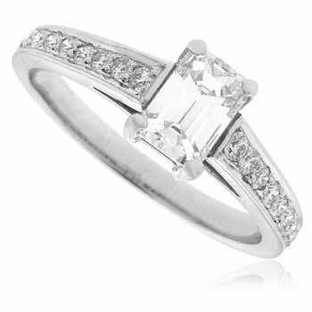 Platinum Emerald cut Solitaire Diamond ring with set shoulders