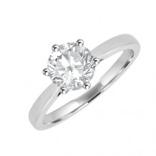 Platinum Solitaire Diamond 6-claw Ring