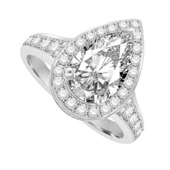 Platinum Pear cut Solitaire Diamond Halo Ring