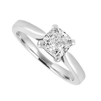 Platinum Solitaire Cushion cut .86ct Diamond Ring