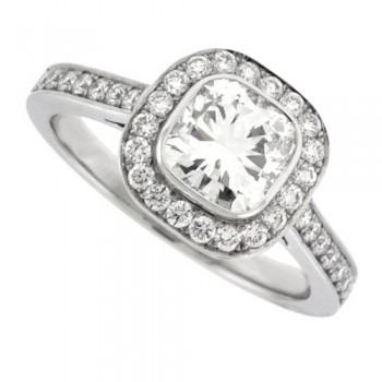 Platinum Cushion Cut Diamond Halo Ring