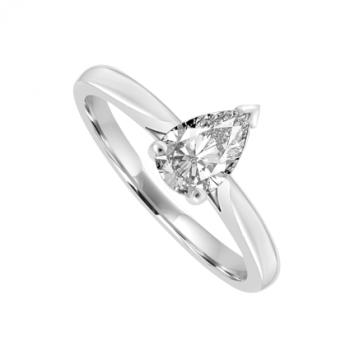 Platinum Solitaire Pear cut Diamond Ring