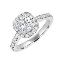 Platinum Solitaire Cushion GVS2 Diamond Halo Ring