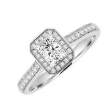 Platinum Solitaire Phoenix FLC Diamond Halo Ring