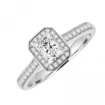 Platinum Solitaire Phoenix FLC Diamond Halo Ring