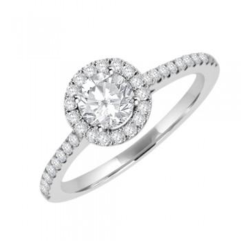 Platinum Solitaire GSi1 Diamondn Halo Ring