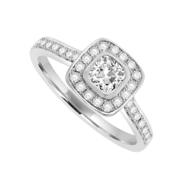 Platinum Cushion cut Diamond Halo Ring