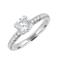 Platinum Solitaire Diamond Ring .70ct/.18sh Engagement