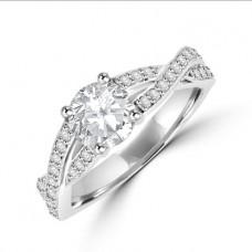 Platinum Solitaire Diamond Twist Ring