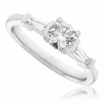 Platinum Solitaire & Baguette Diamond Ring Engagement