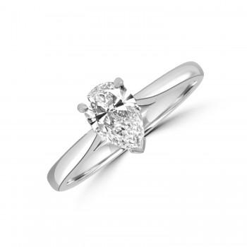 Platinum Pear cut .70ct DSi1 Diamond Solitaire Ring