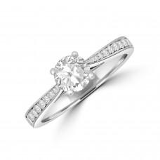 Platinum Solitaire .63ct Diamond Set Shoulders Ring