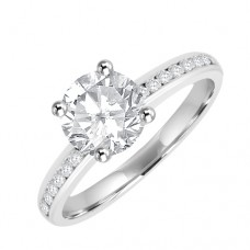 Platinum Solitaire Diamond Ring with channel set shoulders