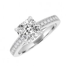 Platinum Solitaire Cushion Diamond Ring Stone Shoulders