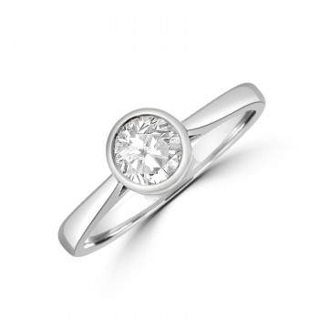 Platinum Solitaire .50ct Diamond Rubover Ring