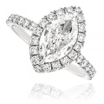 Platinum Solitaire Marquise Diamond Halo Ring