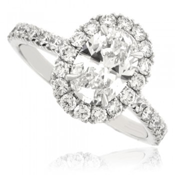 Platinum Solitaire Diamond Ring with Diamond Halo and Shoulders