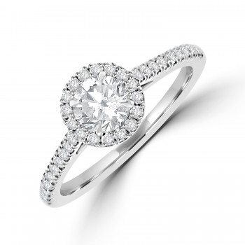 Platinum DSi1 Diamond Halo Ring