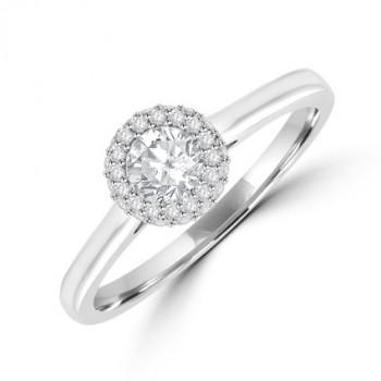 Platinum Solitaire FSi1 Diamond 3D Halo Ring