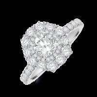 Platinum Solitaire Diamond Hexagonal Double Halo Ring